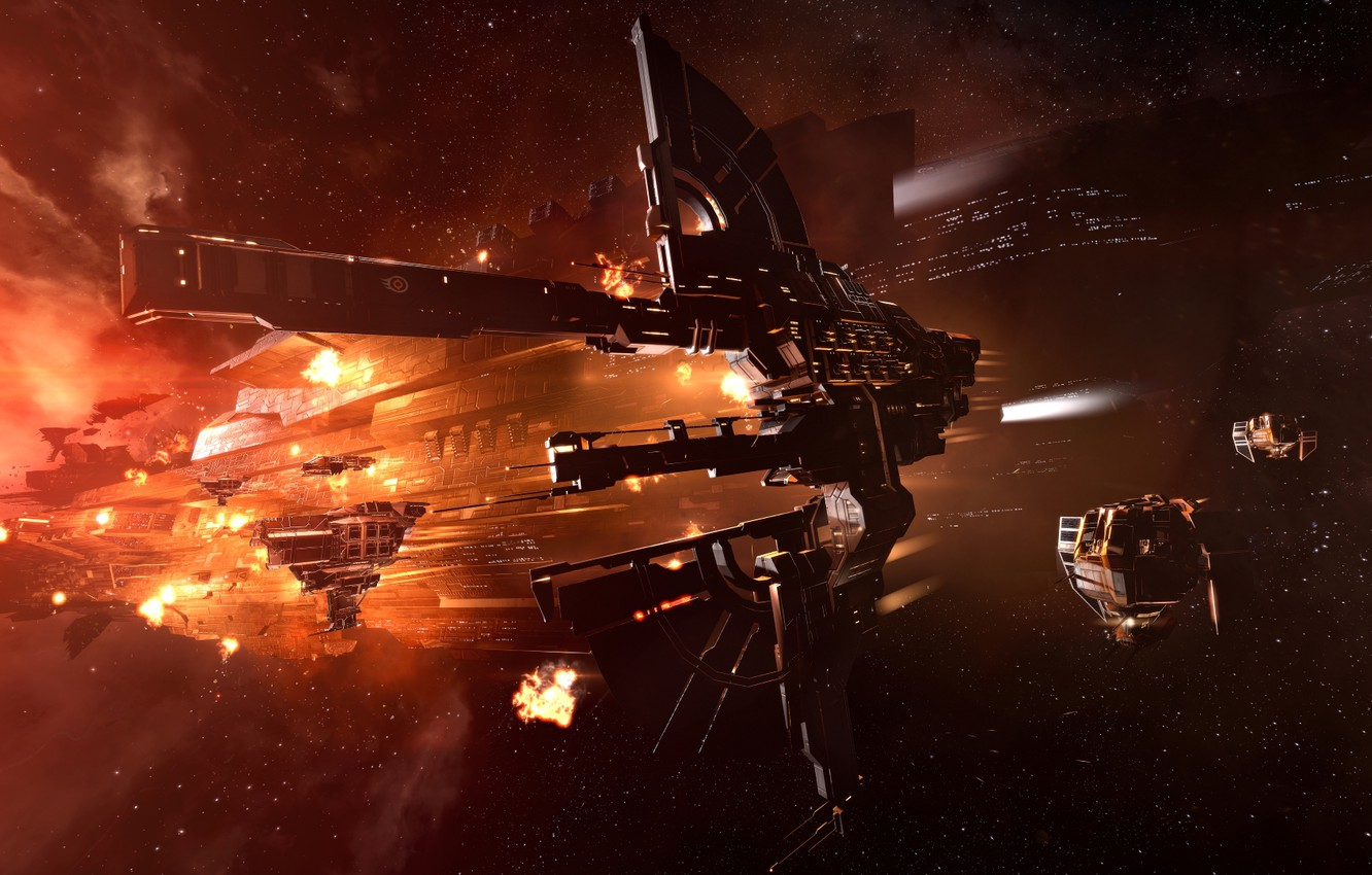 Photo wallpaper nebula, station, Space, space, ruins, battle, spaceship, eve online, battle, space ship, coooper