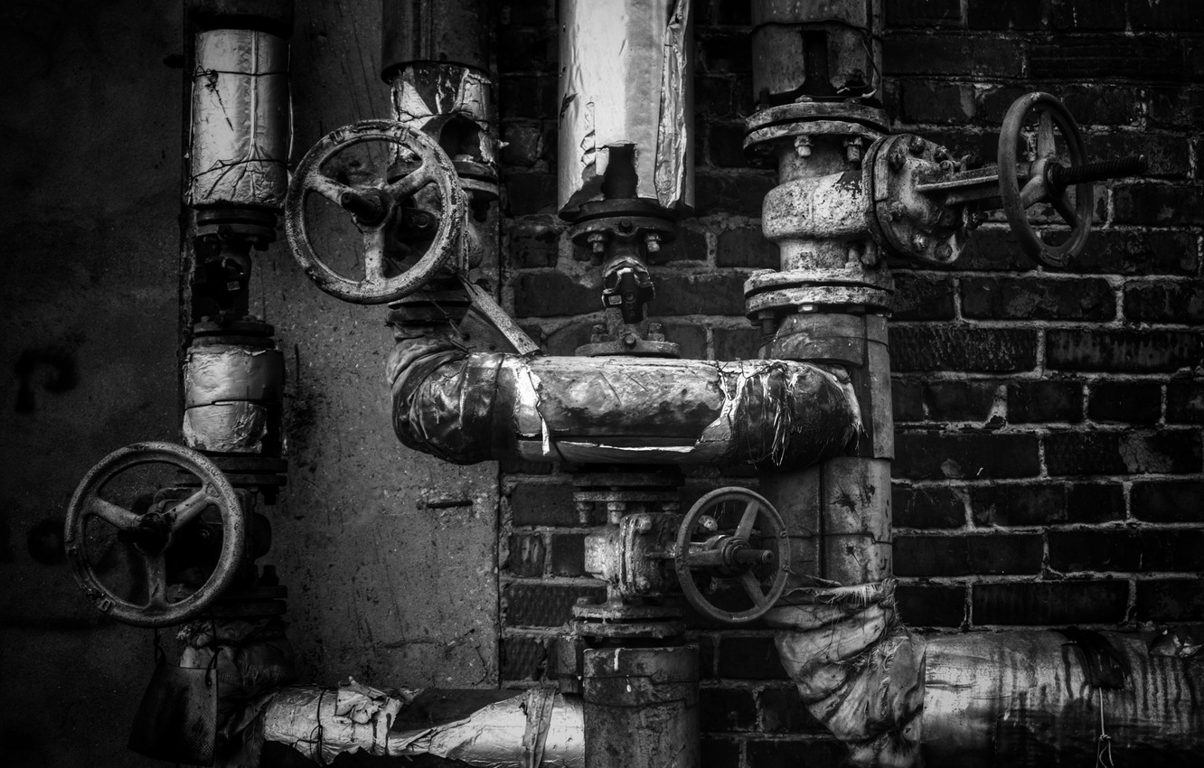 Photo wallpaper valve, monochrome, communication, Pipe