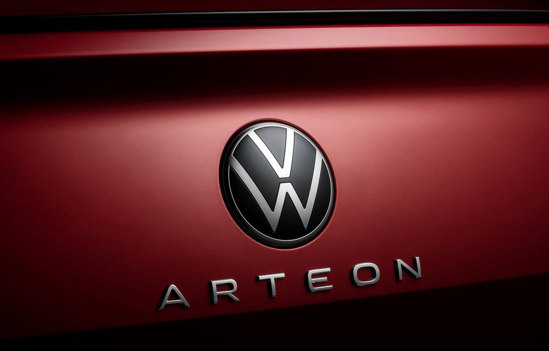 Photo wallpaper red, Volkswagen, emblem, R-Line, liftback, 2020, Arteon