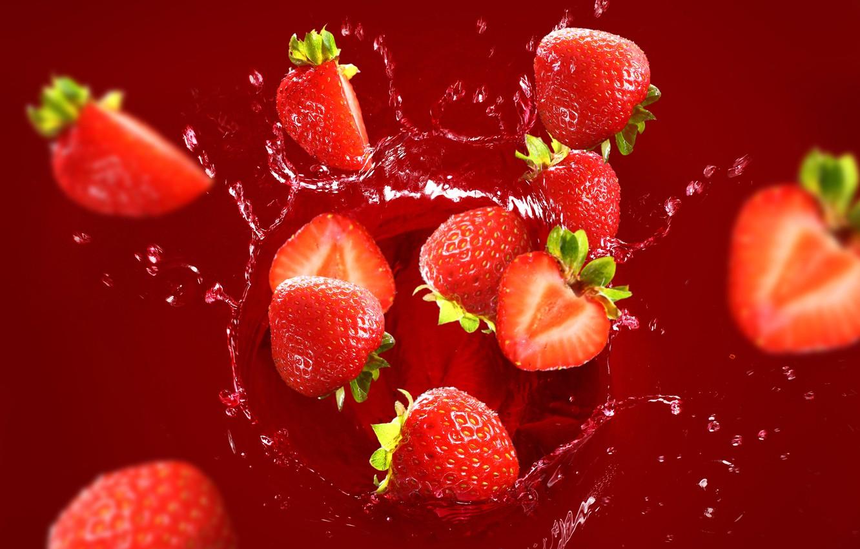 Photo wallpaper water, squirt, berries, strawberry