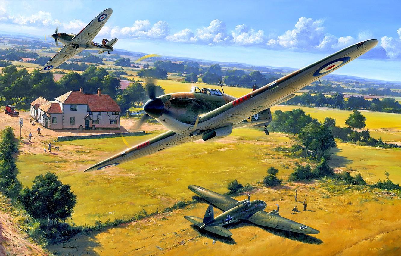 Photo wallpaper Trees, House, Hurricane, RAF, pilots, He.111, Heinkel 111, Hawker Hurricane Mk.I