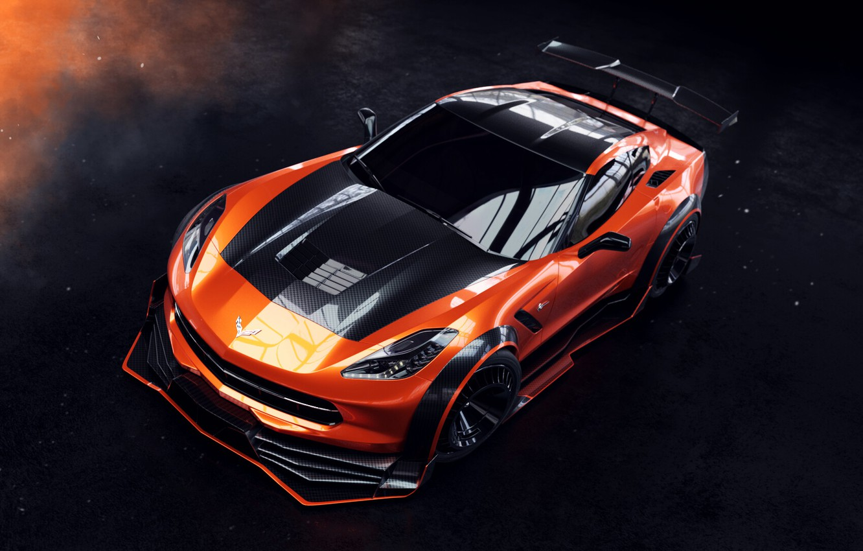 Photo wallpaper Auto, Corvette, Machine, Orange, Car, Rendering, Stingray, Corvette Stingray, Sports car, Transport & Vehicles, Chevrolet …