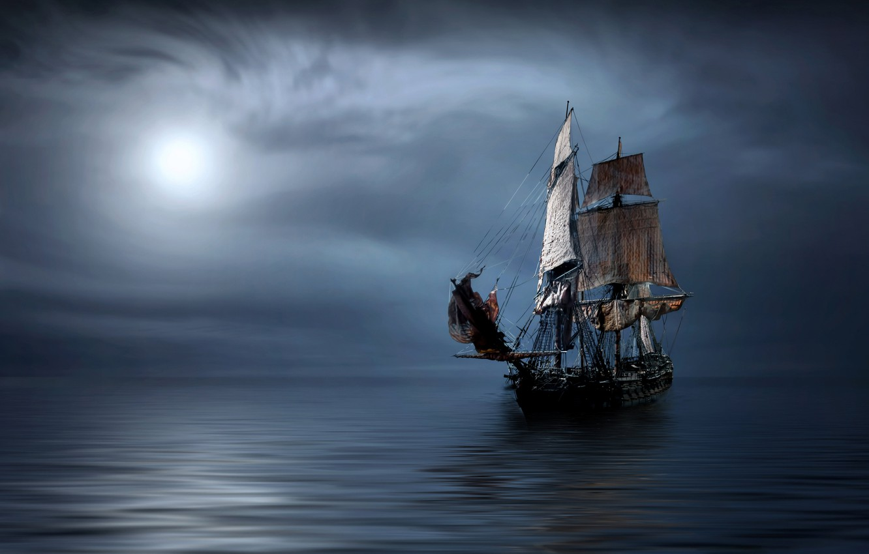 Photo wallpaper sea, ship, sailboat, sails, frigate