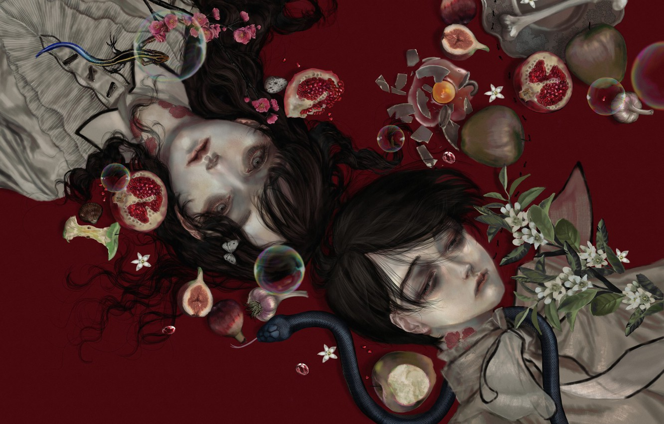 Photo wallpaper bones, vampires, tears, garlic, blood, the guy with the girl, a poisonous snake, rotten, bites, …