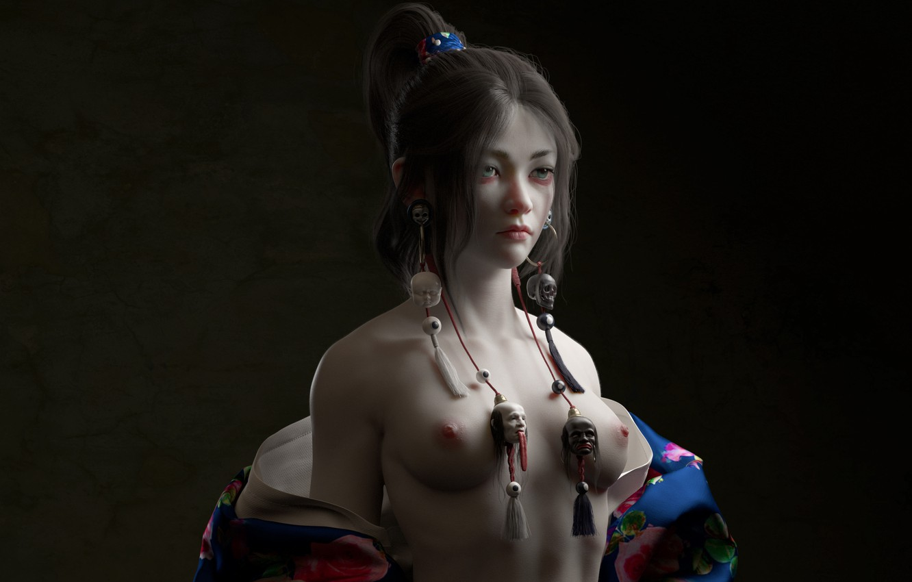 Photo wallpaper face, earrings, geisha, skull, Asian, the dark background, suspension, 3 D graphics, asiatica beauty, by …