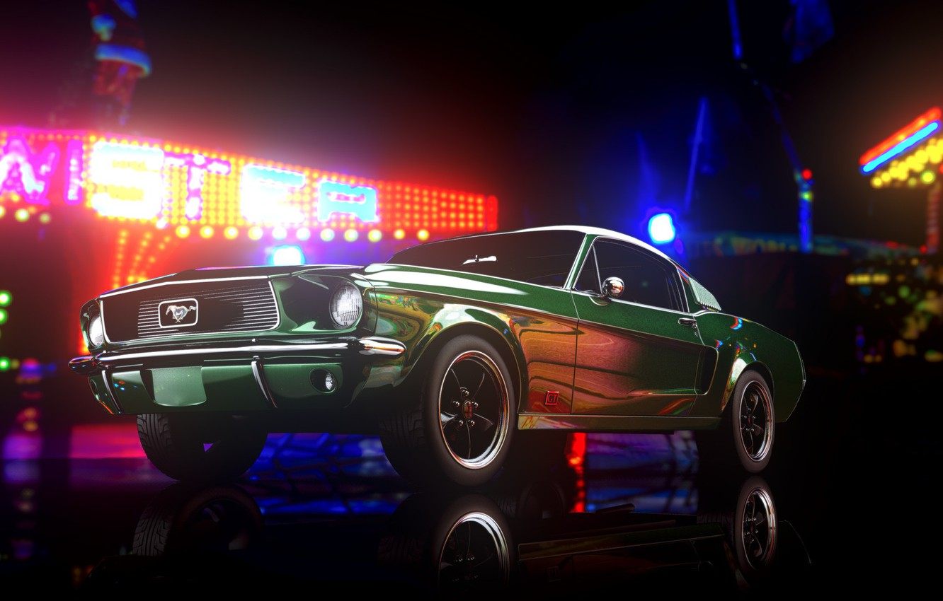 Photo wallpaper Mustang, Ford, Auto, Retro, Machine, Ford Mustang, 1967, Rendering, Bullit, Transport & Vehicles, by Giacomo ...