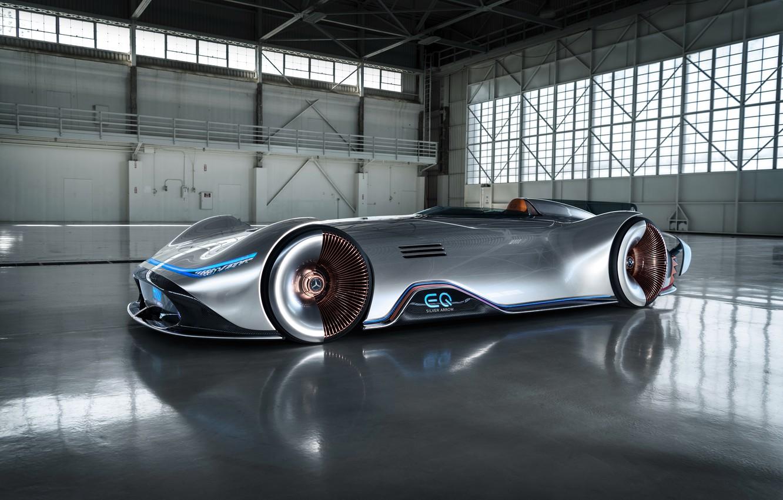 Photo wallpaper the concept car, silver arrow, Mercedes-Benz EQ Silver Arrow, electric car