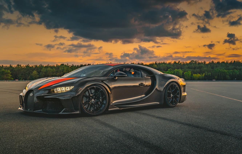 Photo wallpaper sunset, Prototype, the evening, Bugatti, supercar, hypercar, Chiron, 2019, Super Sport 300+