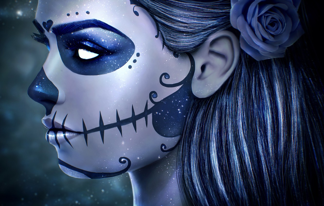 Wallpaper Girl Face Rose Skull Makeup Art Day Of The Dead