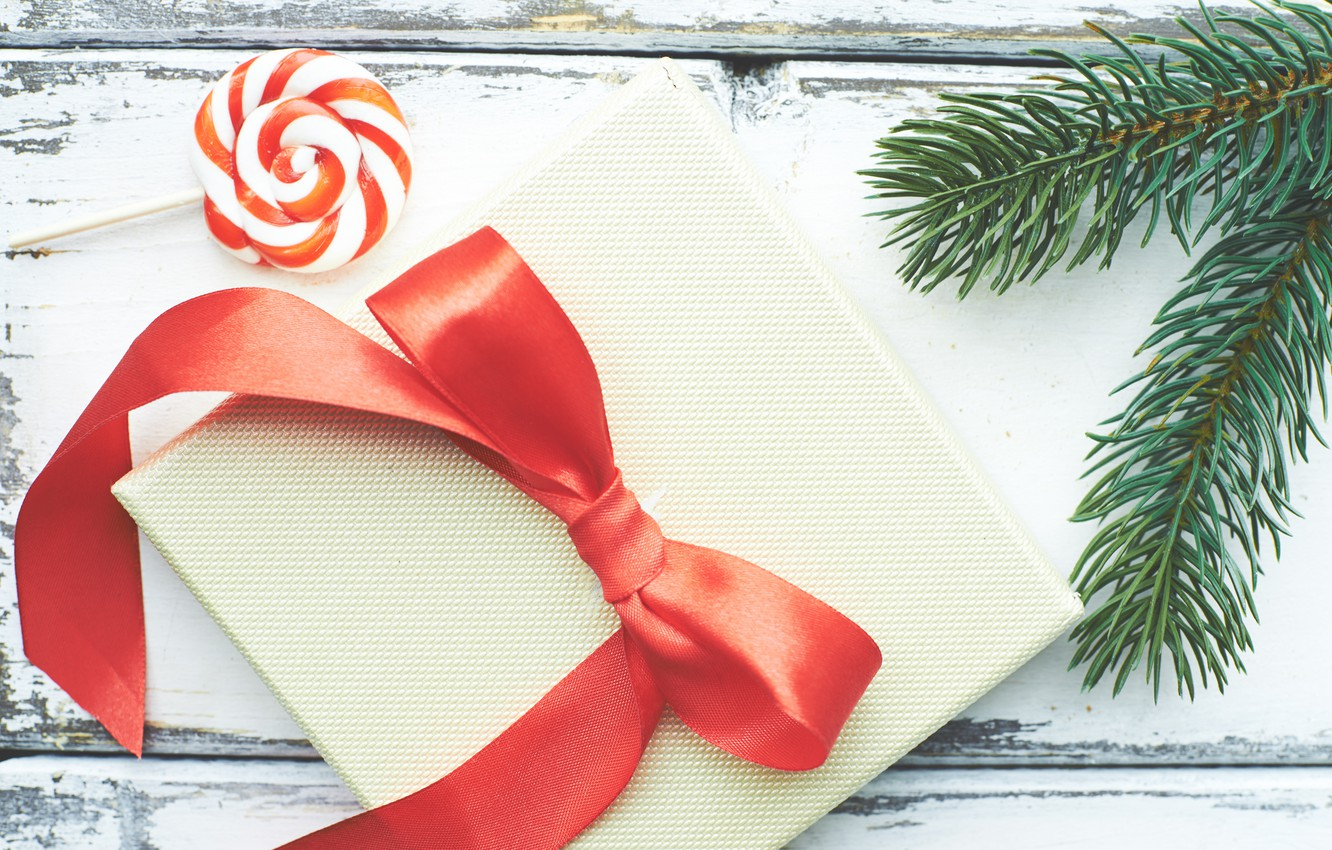 Photo wallpaper new year, spruce, Lollipop, Holiday