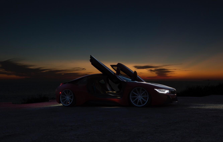 Photo wallpaper night, BMW, red, BMW i8