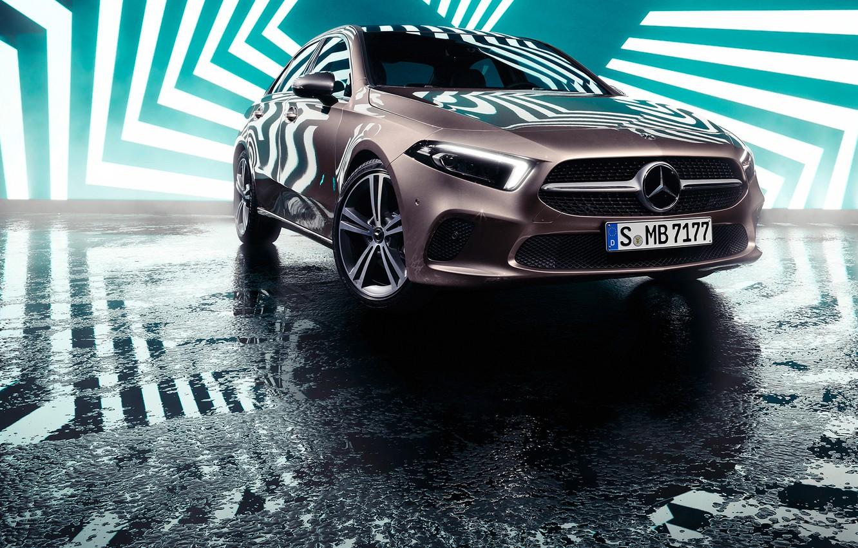 Photo wallpaper transport, car, Mercedes Benz, zigzag, A-Class Sedan