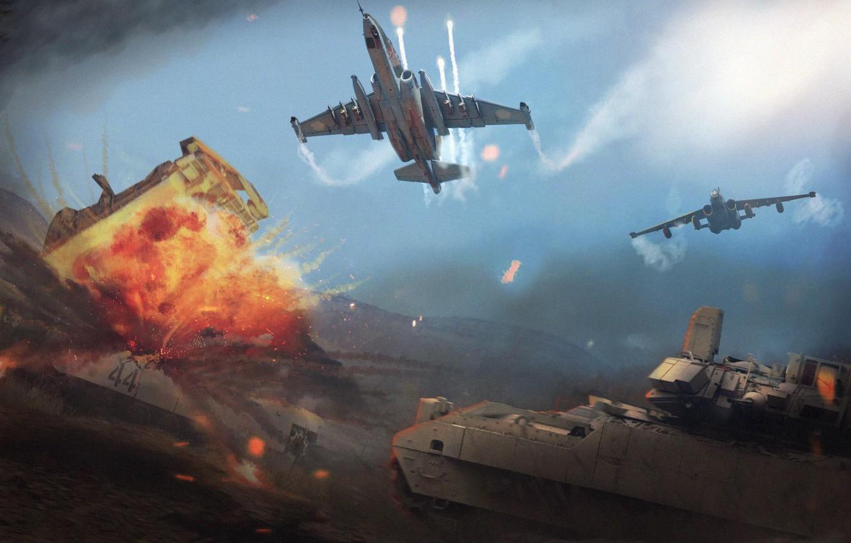 Photo wallpaper Aircraft, War, Battle, Weapons, BBC, Attack, Su-25, Frogfoot, Two, Attack, Su-25, War Machine, by Anatoliy …