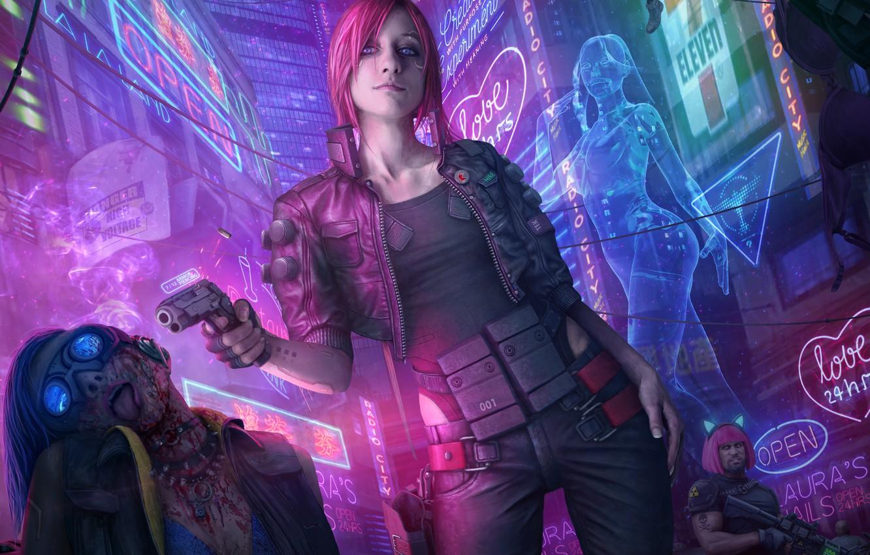 Photo wallpaper girl, night, gun, fiction, street, art, cyberpunk 2077