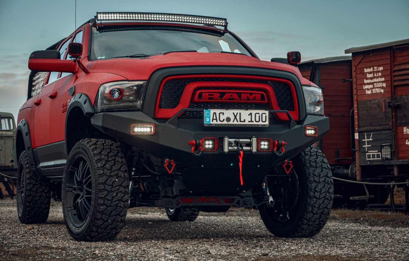 Photo wallpaper red, Dodge, front, pickup, 1500, Ram, Crew Cab, Limited, JB Car Design