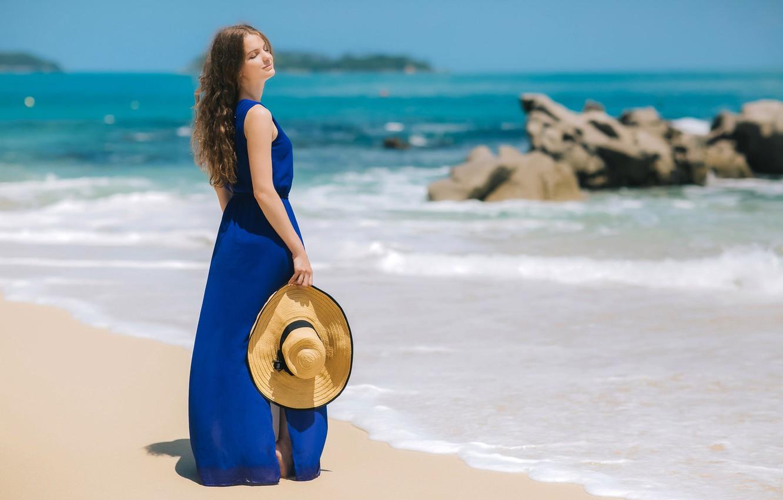 Photo wallpaper sand, sea, beach, the sun, pose, stones, model, portrait, hat, makeup, dress, horizon, hairstyle, brown …