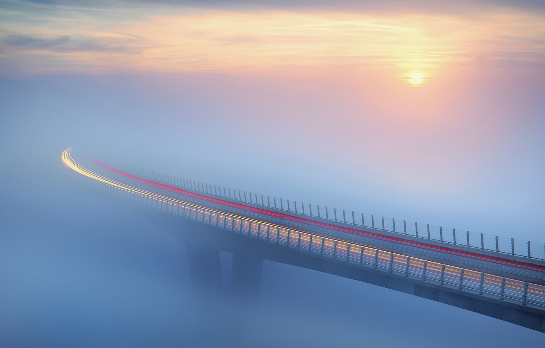 Photo wallpaper bridge, fog, The sun, traffic, bridge, sun, fog, traffic, Ales Komovec
