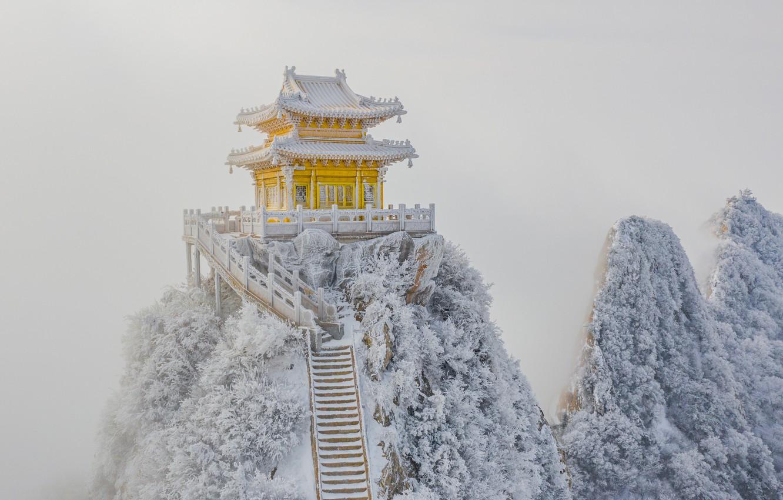 Photo wallpaper snow, rocks, frost, ladder, pagoda, rocks, snow, stairs, pagoda, frost