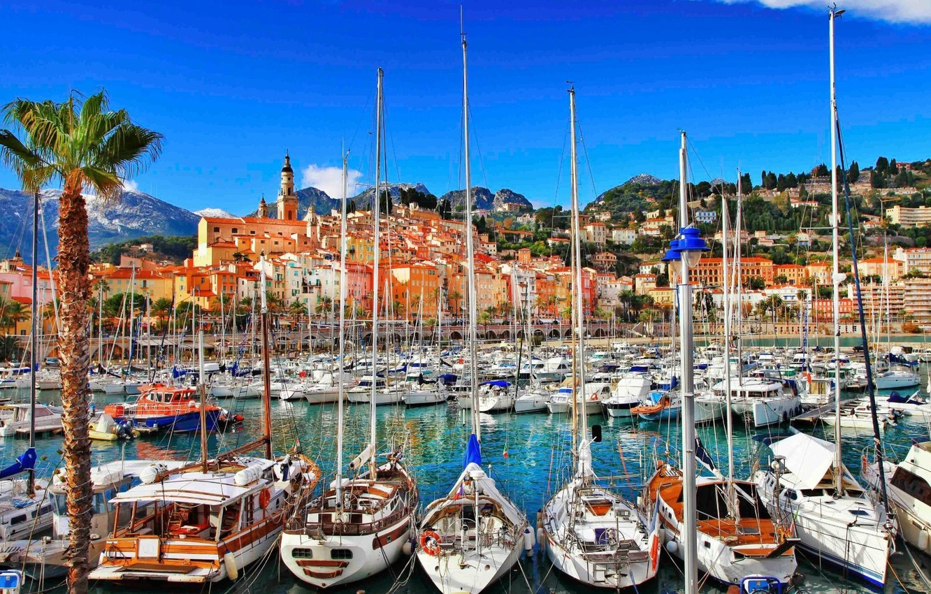 Photo wallpaper sea, the city, France, yachts, boats, port, piers