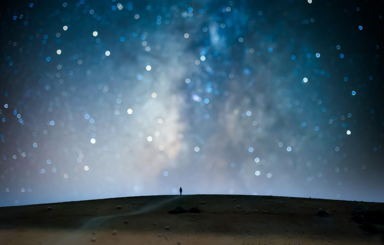 Photo wallpaper the sky, stars, night, people, bokeh