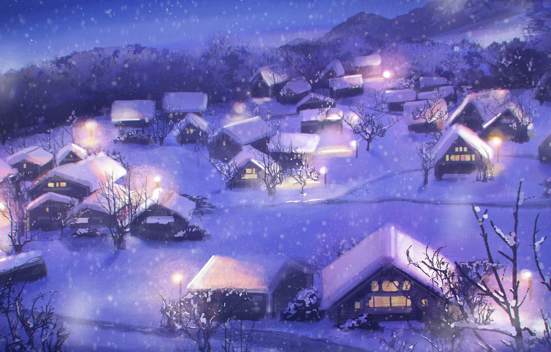 Photo wallpaper winter, night, village, NIK