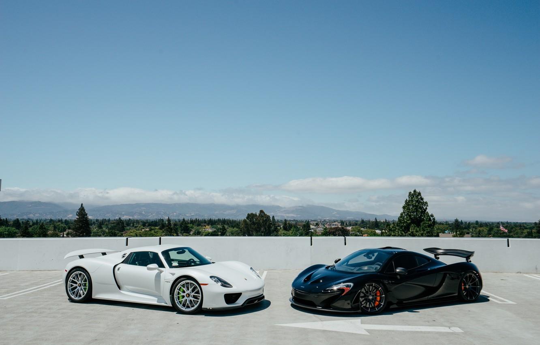 Photo wallpaper McLaren, Sky, Blue, Black, White, Porcshe, VAG