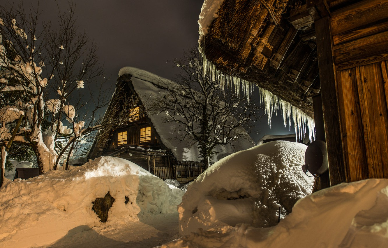 Photo wallpaper winter, snow, trees, landscape, nature, reflection, village, home, the evening, icicles, Japan, lighting, the snow, …