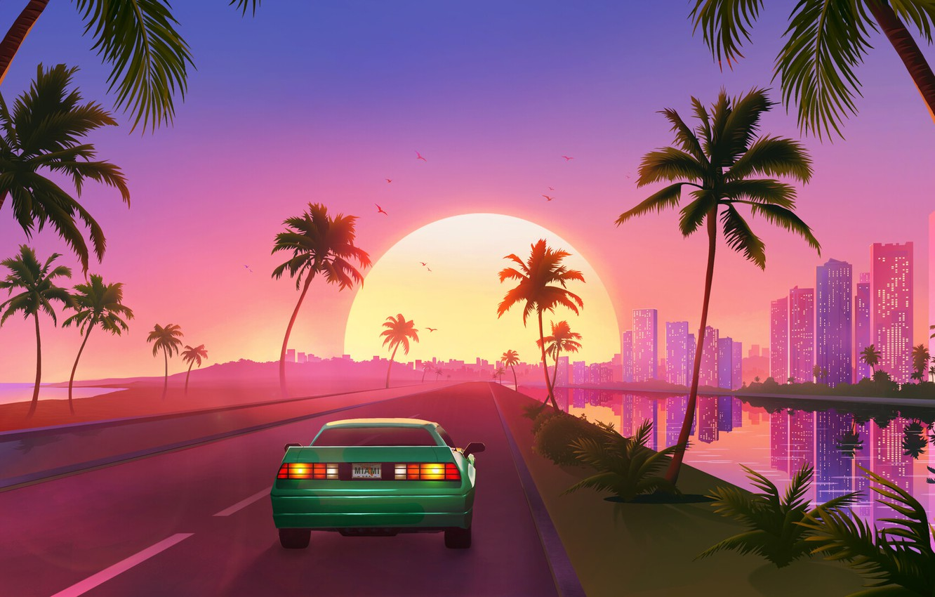 Wallpaper Sunset The Sun Music Machine Style Background Car 80s Sun Style Sunset Neon Road Illustration Palm 80 S Images For Desktop Section Rendering Download