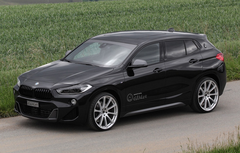 Photo wallpaper road, car, machine, grass, BMW, drives, black, side, tuning, crossover, BMW X2, black car, BMW …