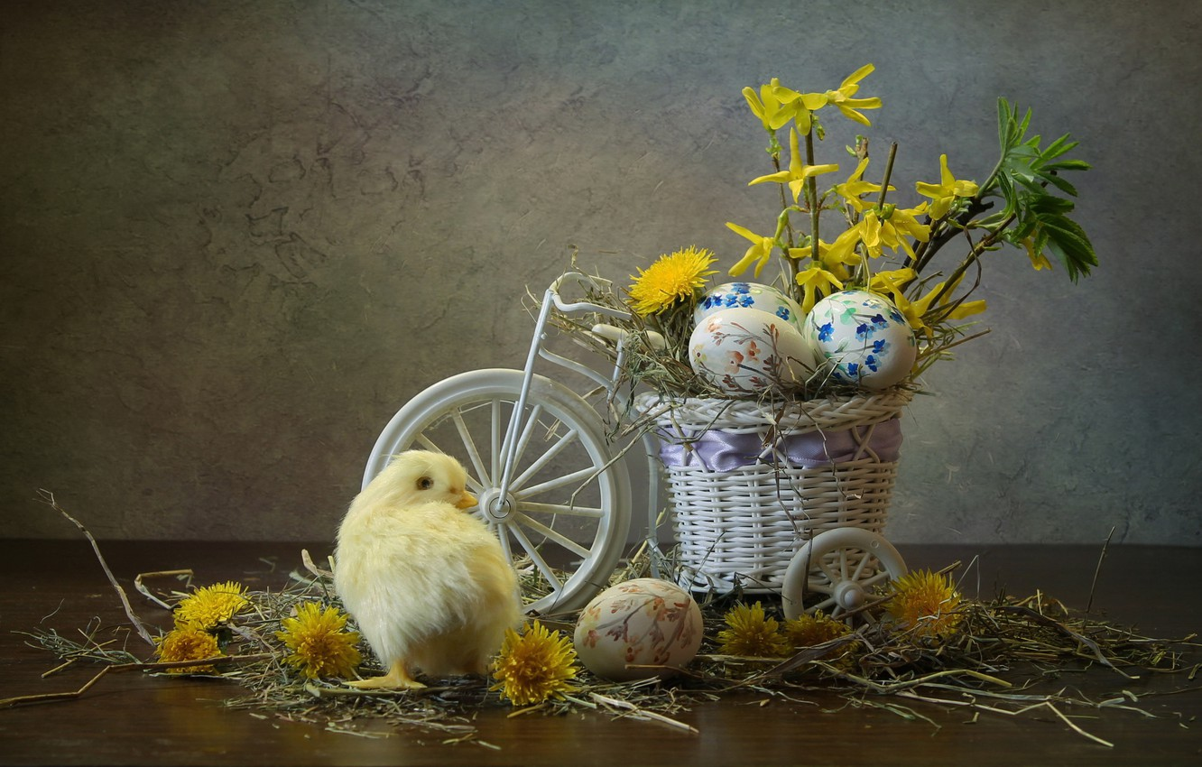 Photo wallpaper flowers, bike, holiday, eggs, Easter, hay, dandelions, chicken, composition, pots, Kovaleva Svetlana