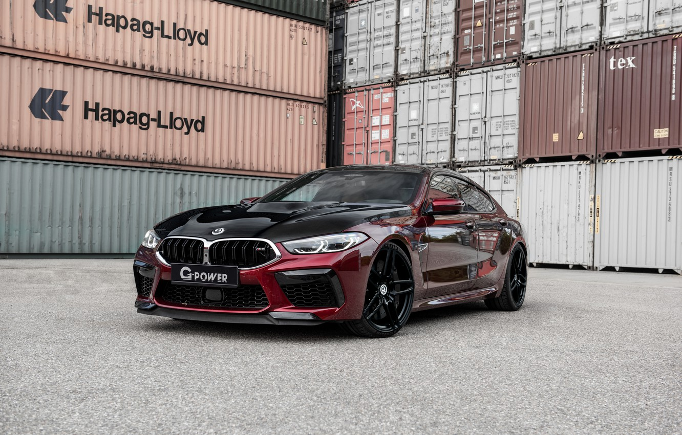 Photo wallpaper coupe, BMW, G-Power, containers, Bi-Turbo, 2020, BMW M8, M8, the four-door, M8 Gran Coupe, F93, …