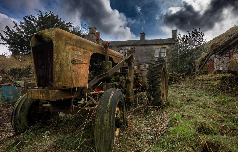 Photo wallpaper wheel, rust, old tractor