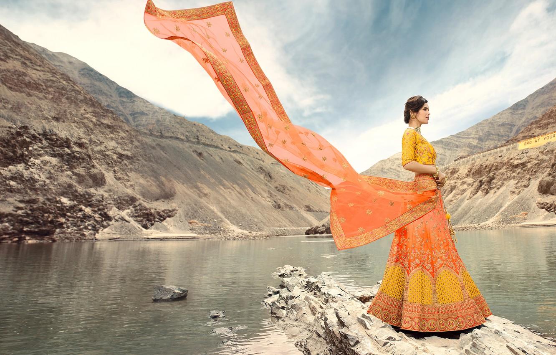 Photo wallpaper girl, fashion, beautiful, model, brunette, pose, indian, makeup, saree, sari, traditional
