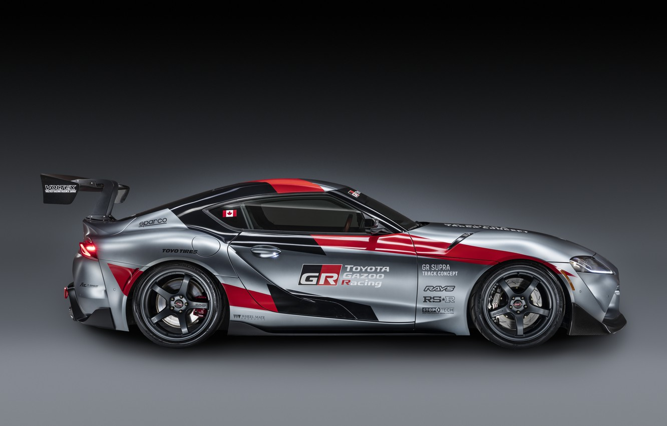 Photo wallpaper grey, background, coupe, Toyota, side view, 2020, GR Supra Track Concept