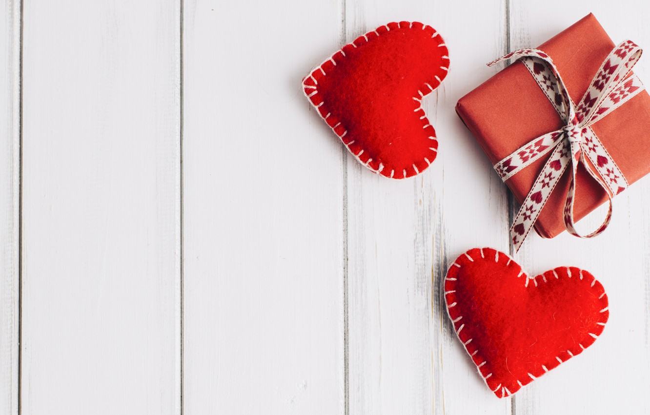Photo wallpaper love, gift, heart, hearts, red, love, heart, wood, romantic, valentine's day