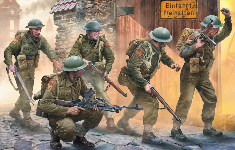 Photo wallpaper Thompson, British Army, Lee-Enfield, Bren, Igor Varavin, British infantry