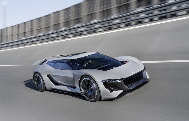 Photo wallpaper grey, movement, Audi, speed, 2018, PB18 e-tron Concept