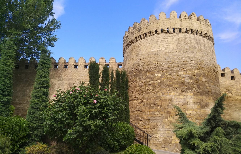 Photo wallpaper Tower, Fortress, Azerbaijan, Azerbaijan, Baku, Baku