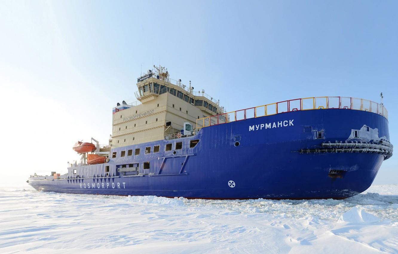Photo wallpaper Winter, Snow, Board, Ice, Icebreaker, The ship, Ice, Murmansk, Rosmorrechflot, Rosmorport, Icebreaker Murmansk, Project 21900
