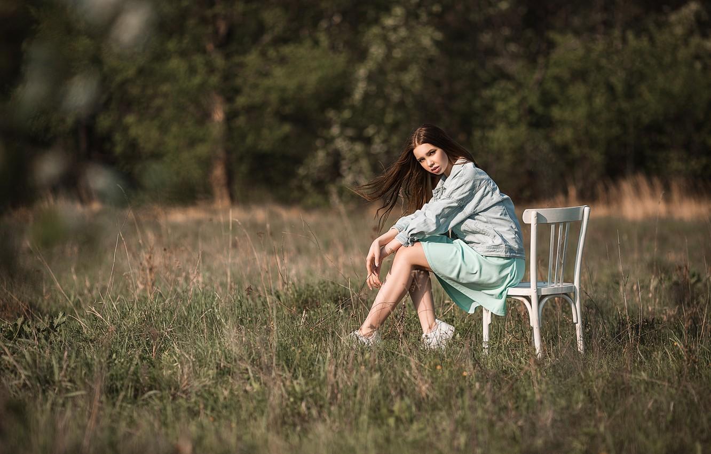 Photo wallpaper field, summer, grass, look, girl, nature, pose, brunette, Vladimir Vasiliev