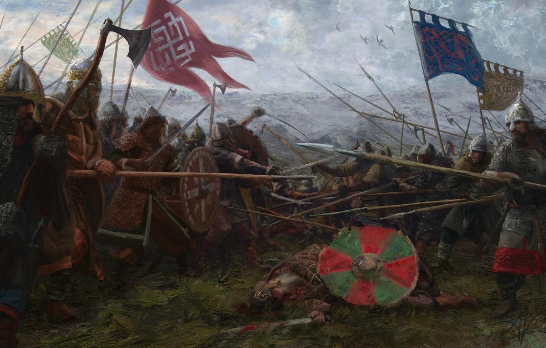 Photo wallpaper the sky, weapons, flag, warrior, Battle, battle, armor