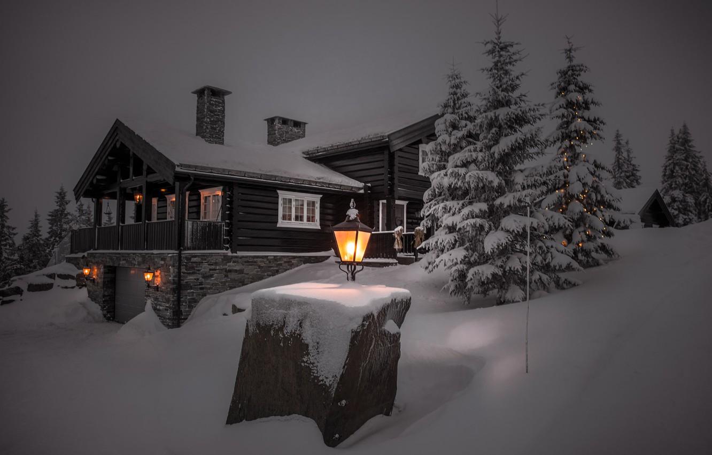 Photo wallpaper winter, light, snow, trees, landscape, night, nature, house, the evening, ate, lights, cottage, Jørn Allan …