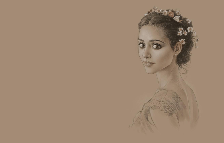 Photo wallpaper girl, figure, portrait, sketch, art, SERGEI SOROCHKIN, study (Emmy Rossum)