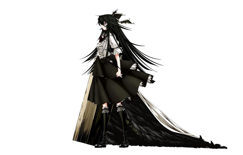 Photo wallpaper black hair, Reiu Equipment, Utsuho, black wings, Touhou Project, Project East, by Shachiku