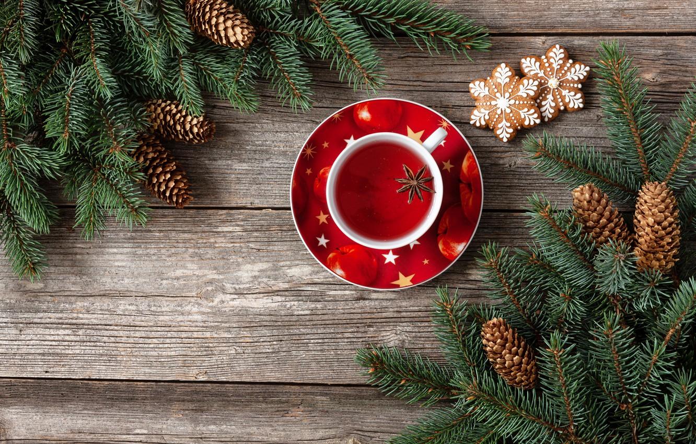 Photo wallpaper decoration, New Year, Christmas, Christmas, wood, cup, New Year, tea, decoration, xmas, Merry, fir tree, …