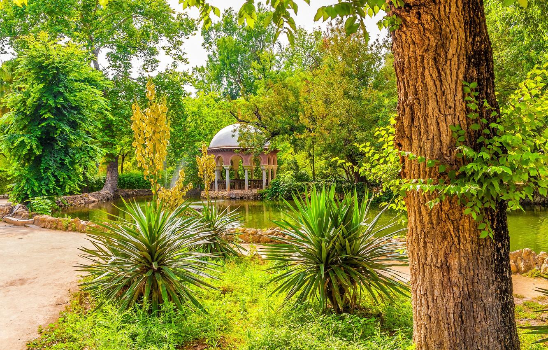 Photo wallpaper greens, the sun, trees, pond, Park, Spain, gazebo, Sevilla, Maria Luisa Park