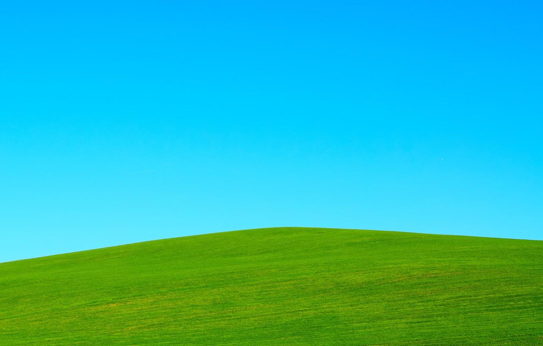 Photo wallpaper the sky, grass, minimalism, hill