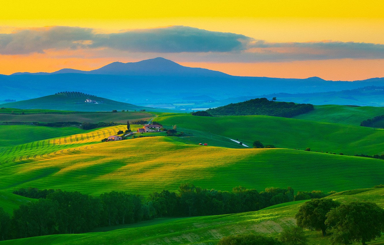 Photo wallpaper house, sky, trees, field, landscape, Italy, nature, sunset, mountains, clouds, hills, Tuscany