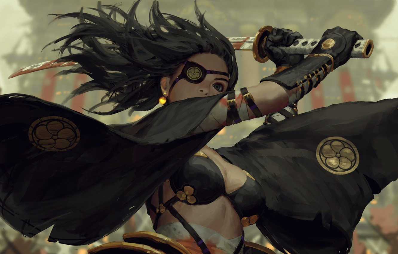 Photo wallpaper blood, katana, samurai, blow, gloves, emblem, black hair, art, the fight, eye patch, black cloak, …