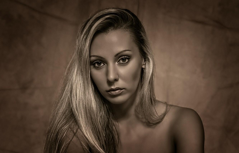Photo wallpaper black & white, girl, beautiful, look, blonde, matte, Kide Fotoart
